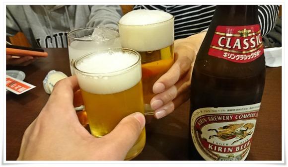 ビールで乾杯@焼とり 源や(ともや)