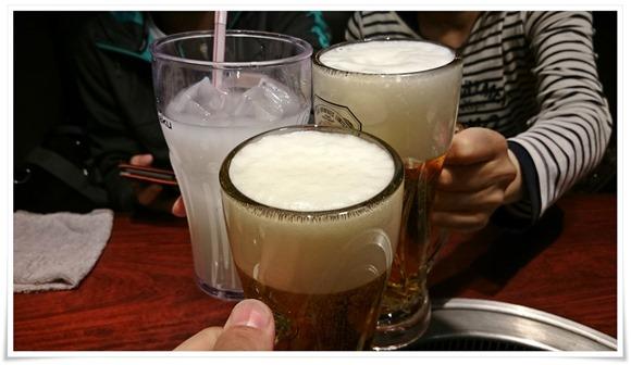 生ビールで乾杯@牛角 八幡駅前店
