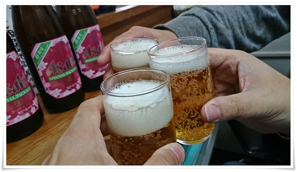 瓶ビールで乾杯@大和 黒崎本店