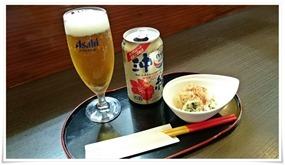 缶ビール+小鉢@裏裏(おもてなし)