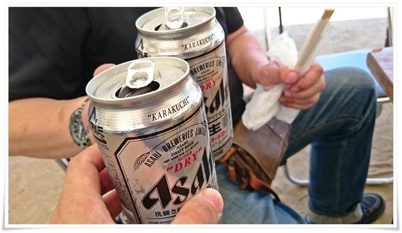 缶ビールで乾杯@元気食堂