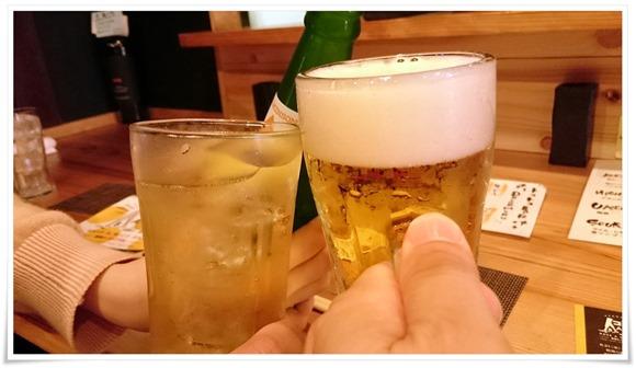 生ビールで乾杯@焼鳥 炭家(すみか)
