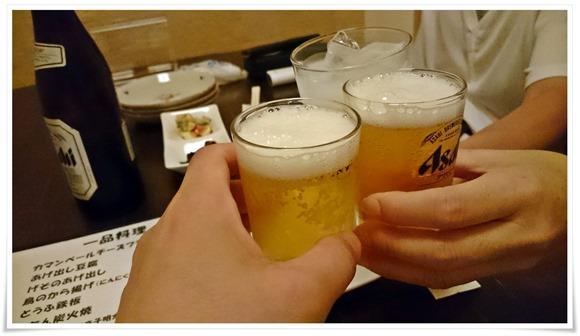 瓶ビールで乾杯@炭火焼鳥 長州
