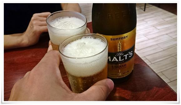 瓶ビールで乾杯@博多とりかわ大臣