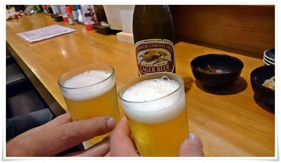 瓶ビールで乾杯@居酒屋とり照