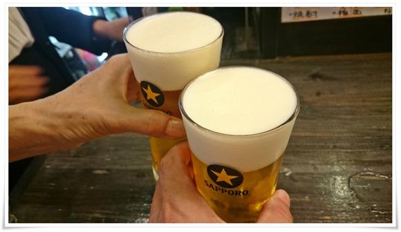 生ビールで乾杯@たたんばぁ大分店