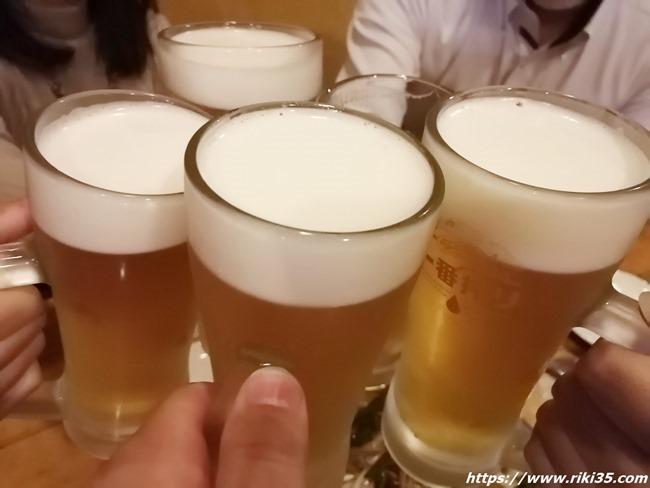 生ビールで乾杯@居酒屋 梵久楽